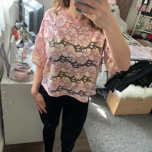 WORN ONCE - Cute Zara Pink & Yellow Lace Top